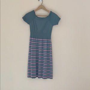 Grey & Pink Striped Dress Kid's Size L